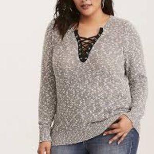 Torrid Grommet Trim Lace Up Grey Sweater 1
